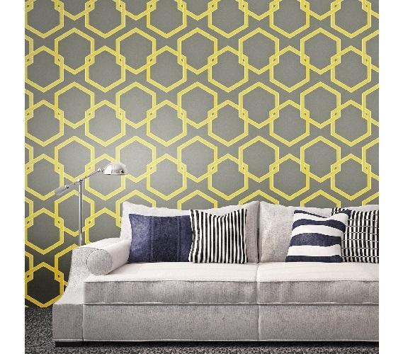 Honeycomb Citron Designer Removable Wallpaper For Dorms