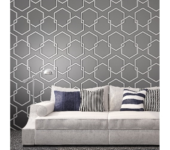 Captivating Honeycomb Gray Designer Removable Wallpaper Part 18