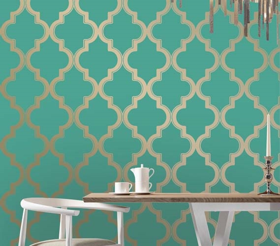 Marrakesh honey jade designer removable wallpaper for Paintable peel n stick wallpaper