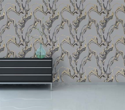 Marble Storm Designer Removable Dorm Room Wallpaper Dorm Essentials Dorm Room Decorations