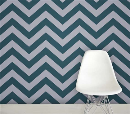 Zee Teal Designer Removable Dorm Room Wallpaper Dorm Essentials Dorm Room Decor