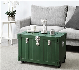 Bolt Trunks - Green Extra Roomy College Footlocker Dorm Trunk with Wheels