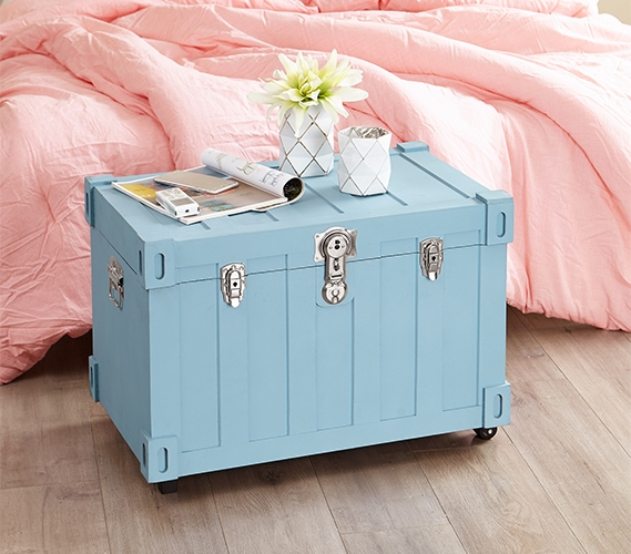 Pastel Baby Blue Dorm Decor For Girls Mini College Storage Trunk Locking Safe For College Students