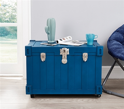 Bolt Trunks - Pacific Blue Extra Roomy College Footlocker Dorm Trunk with Wheels