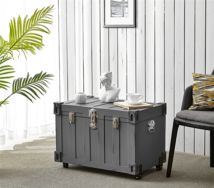 Bolt Trunks - Rustic Gray (Extra Roomy College Footlocker) College Trunk