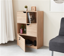 College Furniture Ideas for Small Dorm Bookshelf Locking Safe Wood Storage for Dorm