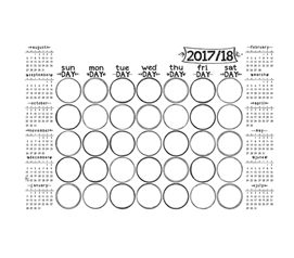Dorm Organizer - Sketch Monthly Calendar - Peel N Stick - Dorm Accessories