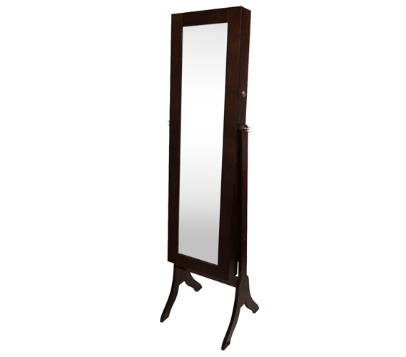 College-Ave Full-Length Mirror Jewelry Stand - Brown Rectangle
