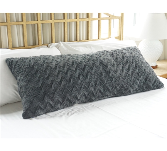College Plush Body Pillow Steel Gray