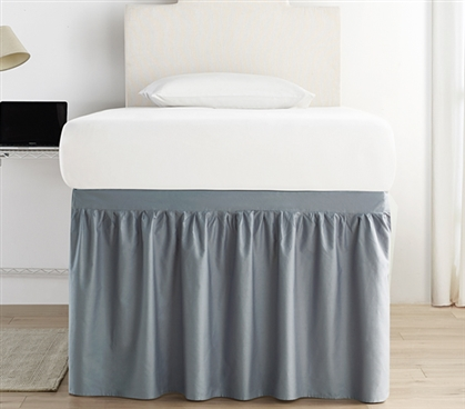 Machine Washable Twin XL Bed Skirt Panels Easy to Match Slate Gray College Dorm Decor