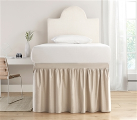 Dorm Sized Cotton Bed Skirt Panel with Ties - Sepia Beige