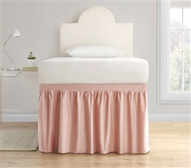 Dorm Sized Cotton Bed Skirt Panel with Ties - Darkened Blush