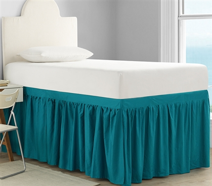 Dorm Sized Cotton Bed Skirt Panel with Ties - Ocean Depths Teal