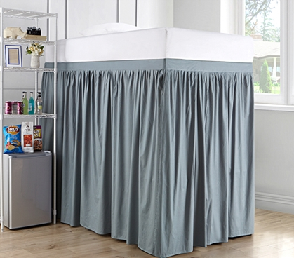 Extended Dorm Sized Cotton Bed Skirt Panel with Ties - Slate Gray (For raised or lofted beds)