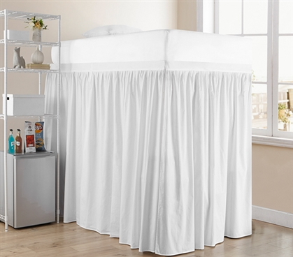 Extended Dorm Sized Cotton Bed Skirt Panel with Ties - Farmhouse White (For raised or lofted beds)