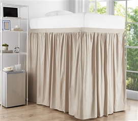 Extended Dorm Sized Cotton Bed Skirt Panel with Ties - Sepia Beige (For raised or lofted beds)