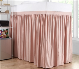 Extended Dorm Sized Cotton Bed Skirt Panel with Ties - Darkened Blush (For raised or lofted beds)