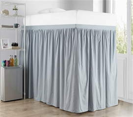 Extended Dorm Sized Cotton Bed Skirt Panel with Ties - Faded Denim (For raised or lofted beds)