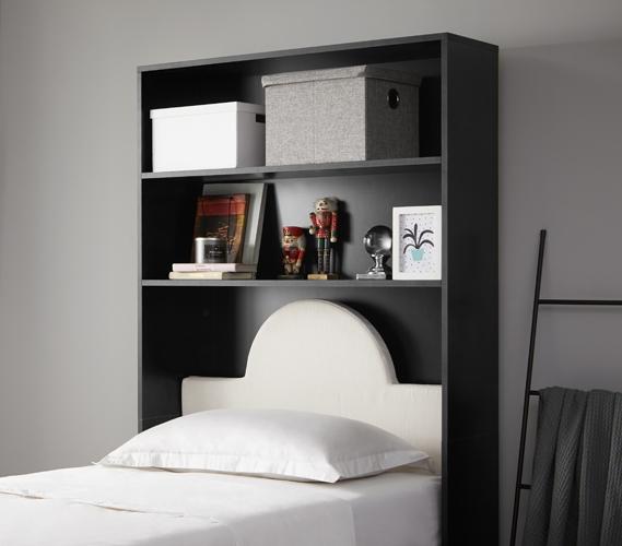 Decorative Dorm Shelf - Over Bed Shelving Unit - Black