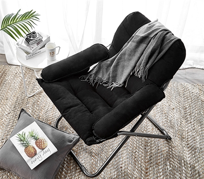 Great For Studying - College Club Dorm Chair - Plush & Extra Tall - Black - Super Soft Seating
