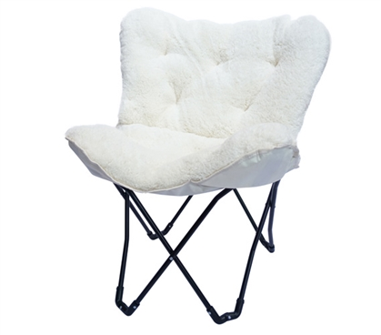 Overfilled Butterfly Chair Ultra Plush Polar Bear White