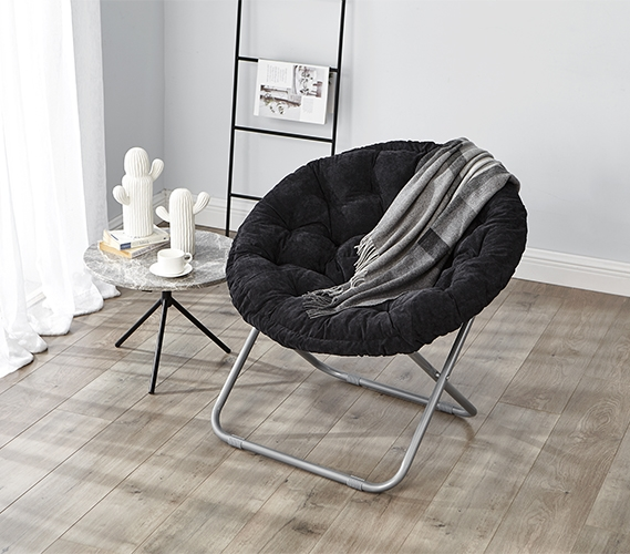 Comfort Padded Moon Chair   Black