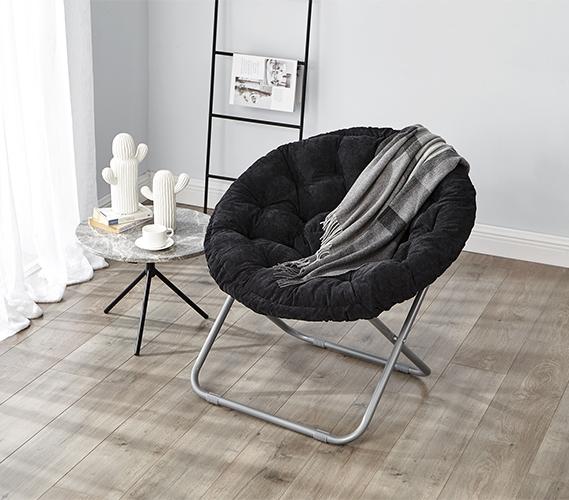 Remarkable Comfort Padded Moon Chair Black Creativecarmelina Interior Chair Design Creativecarmelinacom
