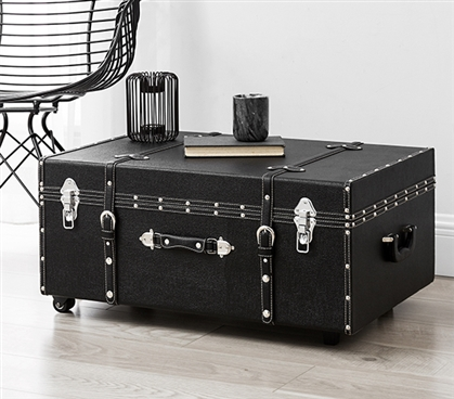 College Organization Made Easy - The Sorority College Dorm Room Trunk - Black Footlocker
