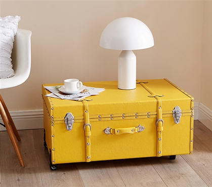 Fancy Design! The Texture® Brand College Dorm Trunk  - Bright Yellow - Useful For Carrying Dorm Stuff