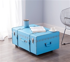Stylish Design - The Sorority College Trunk - Cyan Blue - Great For Transporting