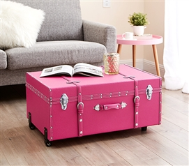Pack And Organize Dorm Stuff - The Sorority College Trunk - Cherry Pink - Super Stylish