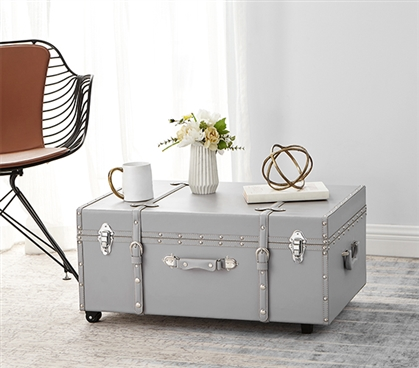 Carry Dorm Items In Style - The Texture Brand Trunk  - Harbor Gray - Classy Design