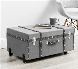 Trendy College Dorm Room Essentials The Texture® Brand College Dorm Trunk Dark Gray Stripe Design