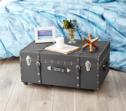 Dorm Storage - The Texture® College Dorm Trunk  - Charcoal - College Accessories