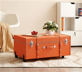 Unique College Dorm Essentials Stylish Texture Brand Trunk Orange College Footlocker