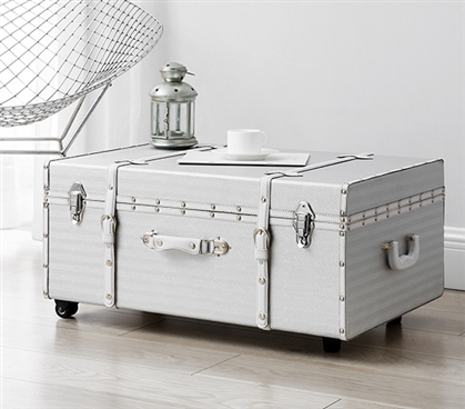 The Sorority College Dorm Trunk - Silver Chevron