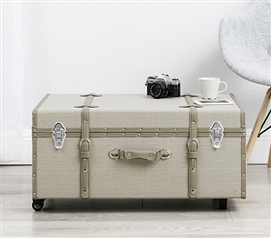 The Sorority College Dorm Trunk - Taupe Gray Stripe