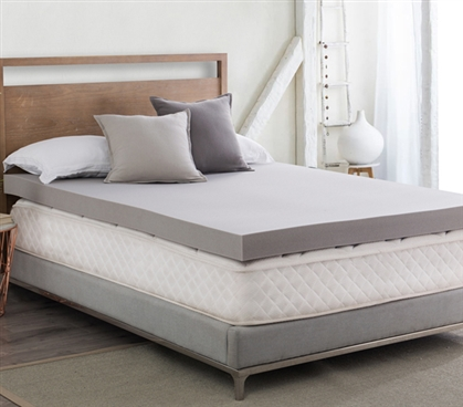 "Make Dorm Bed More Comfortable Mattress Topper Twin Extra Long Gray 4"" Memory Foam Topper"