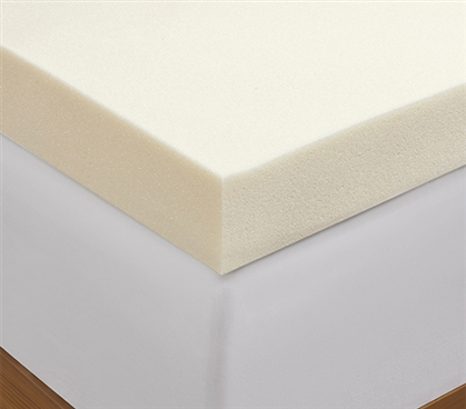 "3"" Memory Foam Mattress Topper - Twin XL sized to fit college dorm room bedding"
