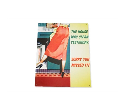 Funny Wall Decor - Cleaned Yesterday - Funny Tin Sign - Make Dorm Life Fun