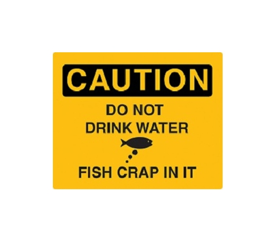 Caution Fish Poop In Water Humor College Wall Decor Tin