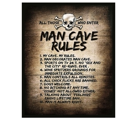 Sturdy And Humorous - The Man Cave Rules - College Guys Tin Sign - Funny Decorations
