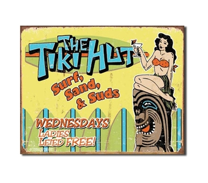 Tin Sign Dorm Room Decor dorm room tiki hut illustrated poster on tin sign for college rooms and walls