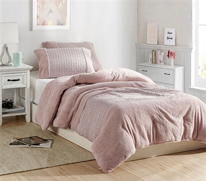 Beautiful Pink Twin Extra Long Comforter Textured Affordable Dorm Bedding Essential
