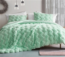 Chevron Birds of a Feather - Coma Inducer Twin XL Comforter - Honeydew