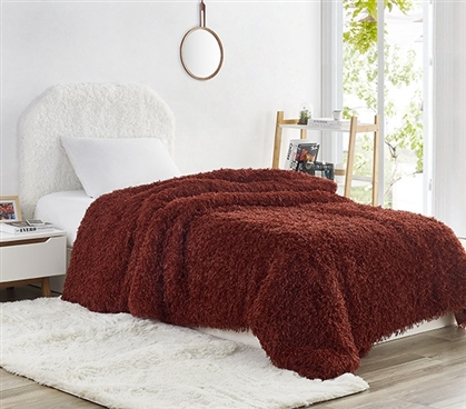 Dorm Bedding Essentials Burgundy Faux Feather Twin Extra Long Dimensions for Dorm Size Beds