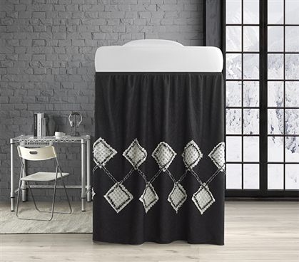 Hometown Antiquity Bed Skirt Panel with Ties - Black/Glacier Gray