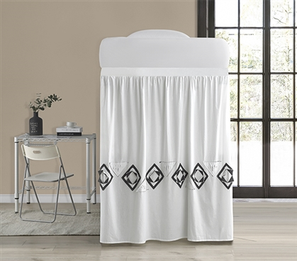 Navy Blowout Bed Skirt Panel with Ties - White/Navy