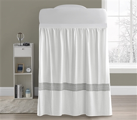 Boutique Border Bed Skirt Panel with Ties - Hotel Gray