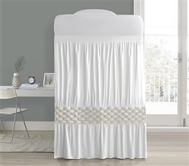 Knit and Loop Bed Skirt Panel with Ties - Almond Cream